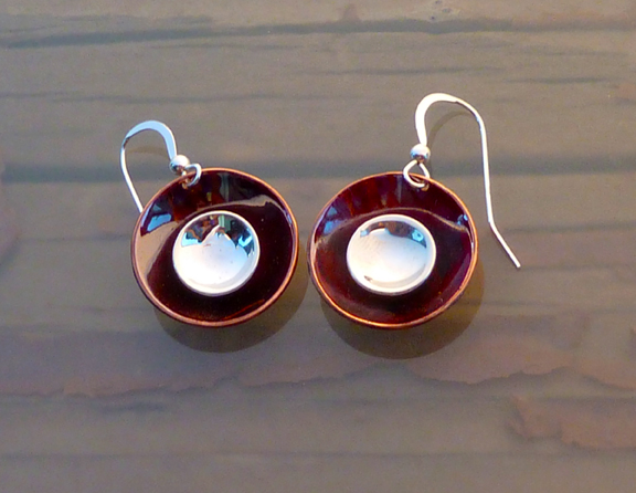 silver and copper bowl earrings.3