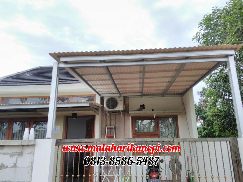 Hasil Pemasangan Kanopi Baja Ringan Murah Atap Alderon RS di Jl. Nurmainah, Cikumpa, Sukmajaya, Depok