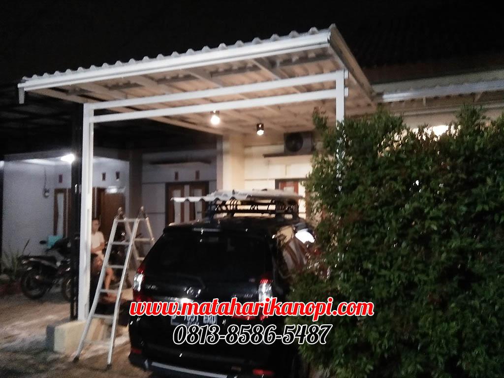Hasil Pemasangan Kanopi Baja Ringan Atap Alderon di Jl. Lingkar Sari 2, Kalisari, Pasar Rebo, Jakarta Timur