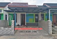 Hasil Pemasangan Kanopi Baja Ringan Atap Evo Gold Standar Merah Putih di Barakana Residence, Cipayung, Depok