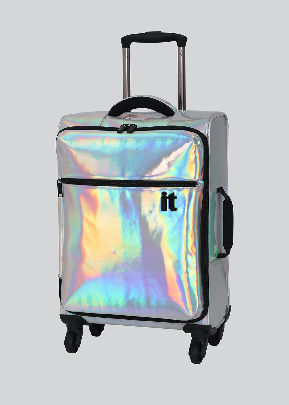 IT Luggage Holographic Suitcase – Silver – Matalan