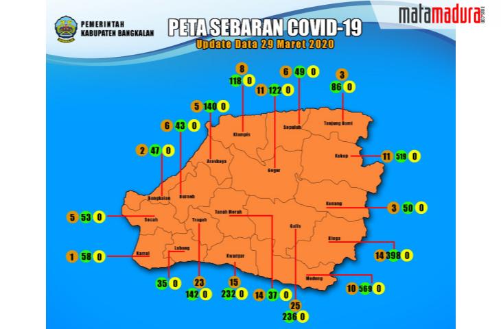 Peta Sebaran Covid-19 di Bangkalan, Total 2.934 ODR