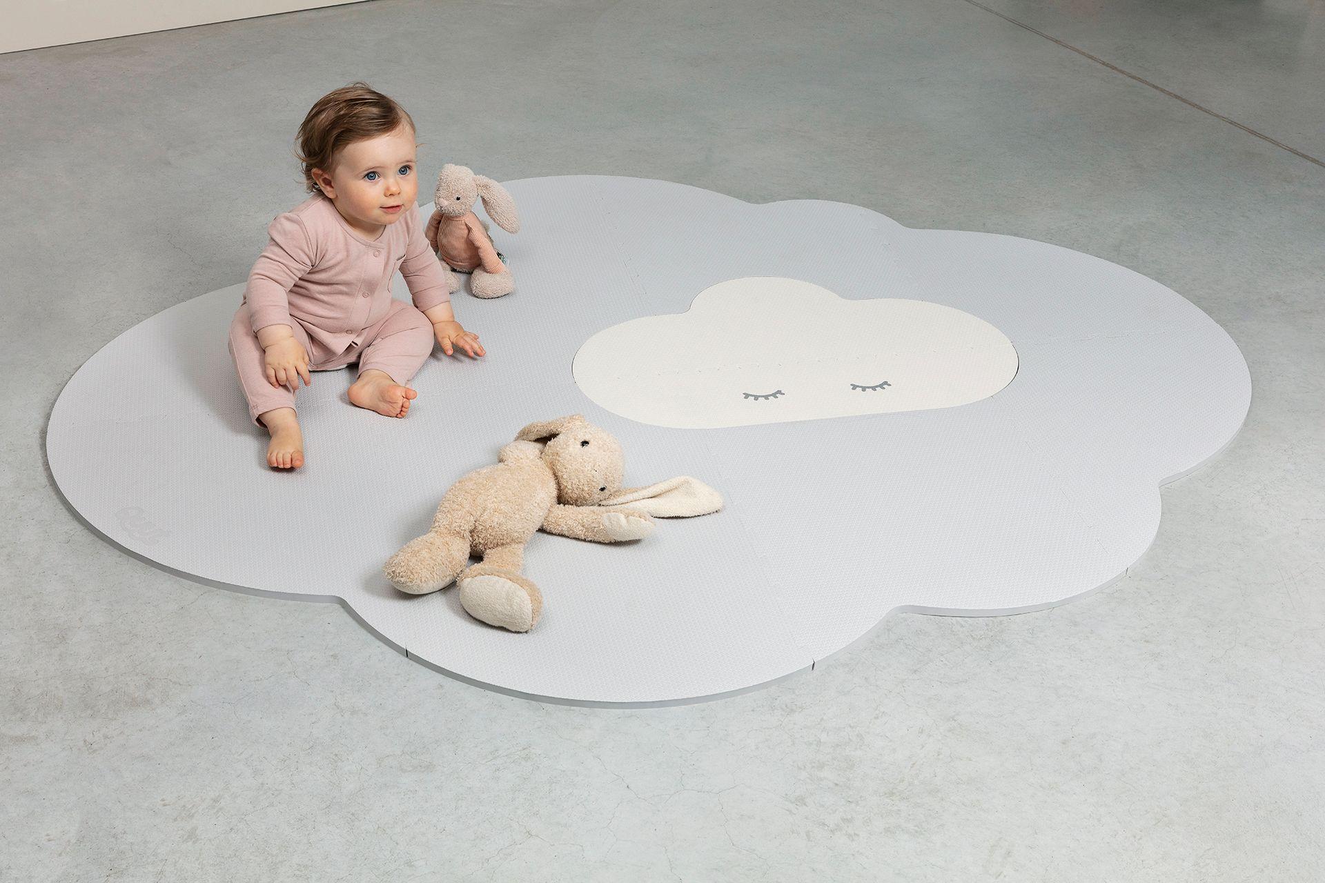 grand tapis de jeu nuage gris
