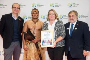Jane West, Tourism Fiji Regional Director UK & Europe accepting the award on behalf of Matava