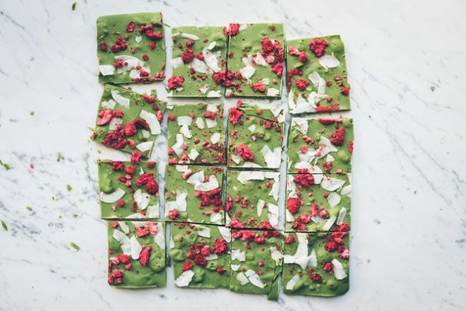 Matcha chocolate bark