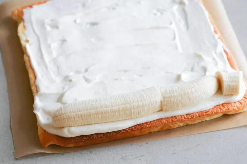 Making Japanese banana swiss roll cake