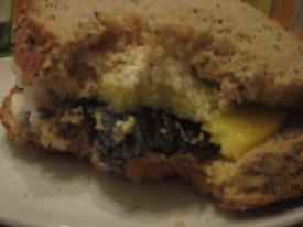 Portobello mushroom and cheese sandwich