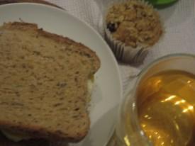 Portobello mushroom and cheese sandwich with tea