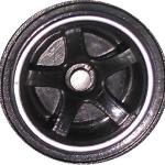 Matchbox Wheels : 5 Spoke - Black-Chrome