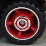 Matchbox Wheels : 5 Spoke Centre Hub Rubber - Red