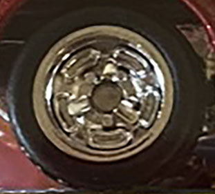 Matchbox Wheels : Chrome 5 Spoke Disc Rubber Tyre