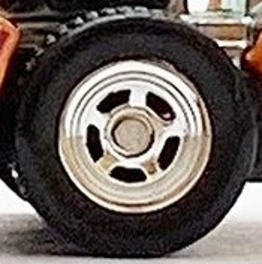 Matchbox Wheels : 5 Spoke Hot Rod Rubber (Chrome)