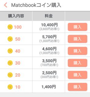 Web版のMatchbookコインの料金表
