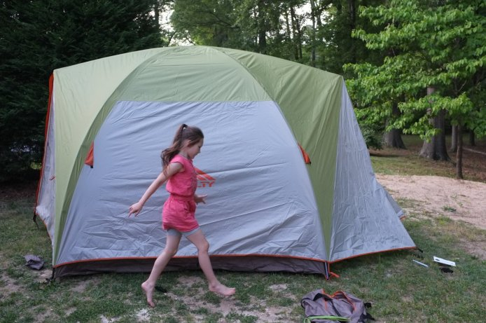 Prancing about the tent