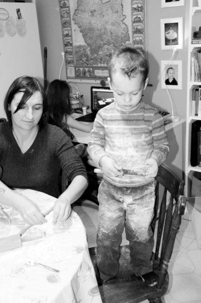 Helping Mama make pierogies