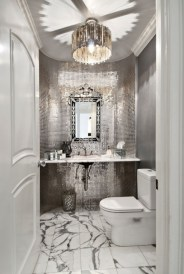 Adorable mosaic marble shower tile for your bathroom 05