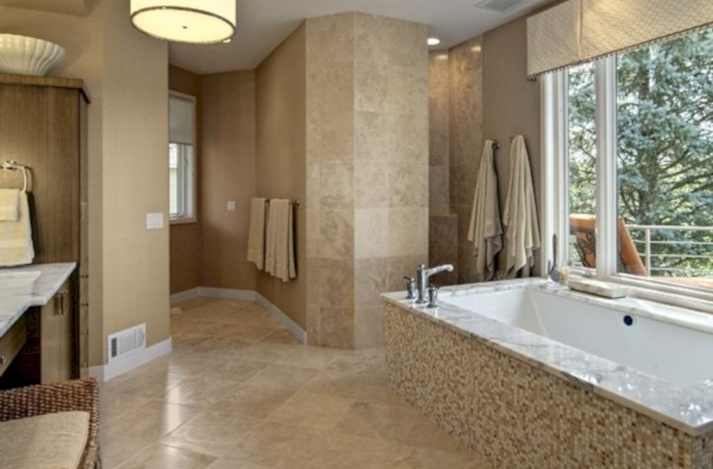 Adorable mosaic marble shower tile for your bathroom 08