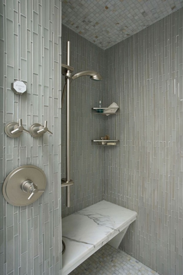 Adorable mosaic marble shower tile for your bathroom 38