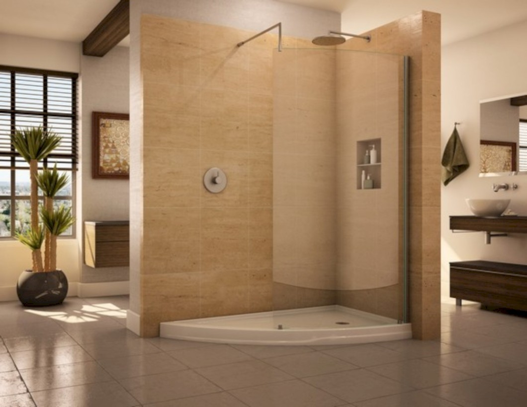 Amazing doorless shower design ideas 09