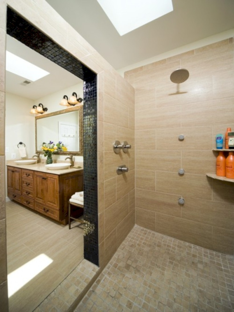 Amazing doorless shower design ideas 15