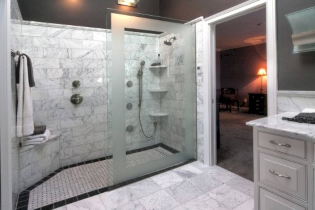 Amazing doorless shower design ideas 21