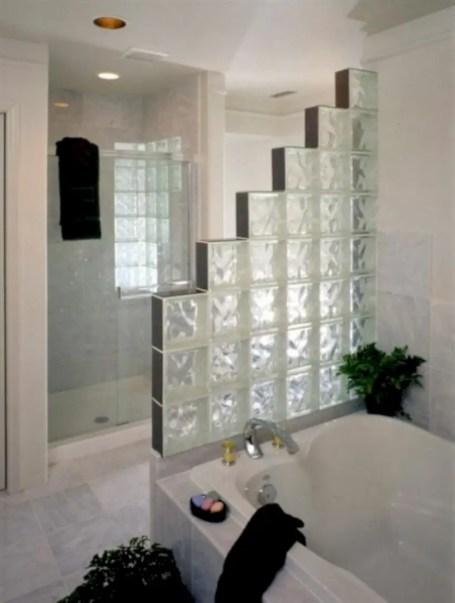 Amazing glass brick shower division design ideas 05