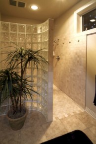 Amazing glass brick shower division design ideas 07