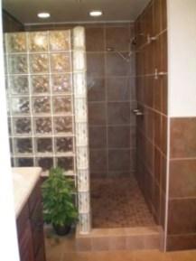 Amazing glass brick shower division design ideas 08