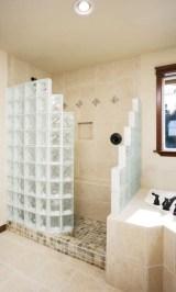 Amazing glass brick shower division design ideas 12