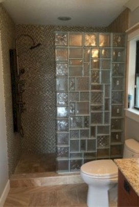Amazing glass brick shower division design ideas 15