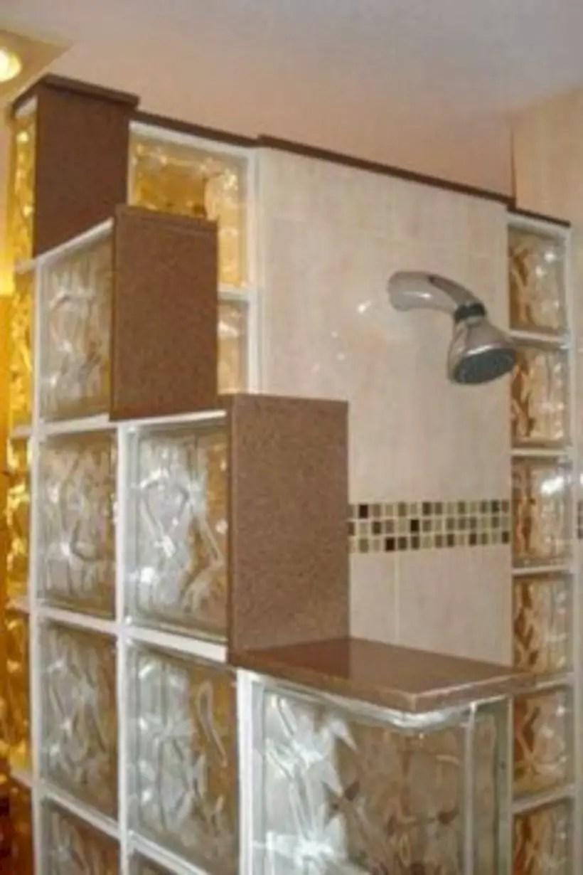 Amazing glass brick shower division design ideas 16