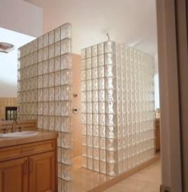 Amazing glass brick shower division design ideas 20