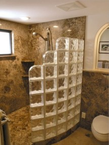 Amazing glass brick shower division design ideas 22