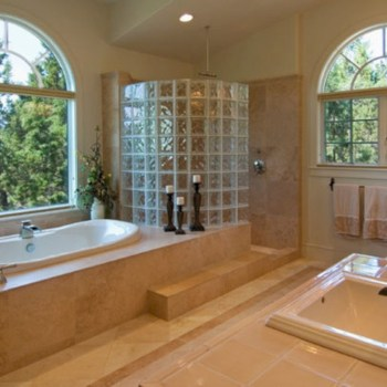 Amazing glass brick shower division design ideas 27