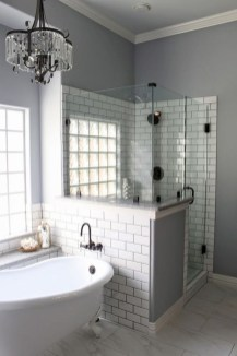 Amazing glass brick shower division design ideas 30