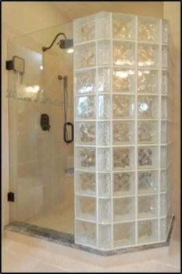 Amazing glass brick shower division design ideas 35