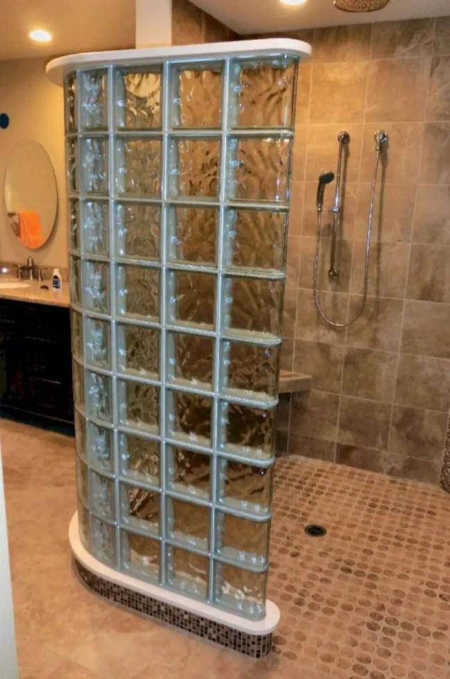 Amazing glass brick shower division design ideas 39
