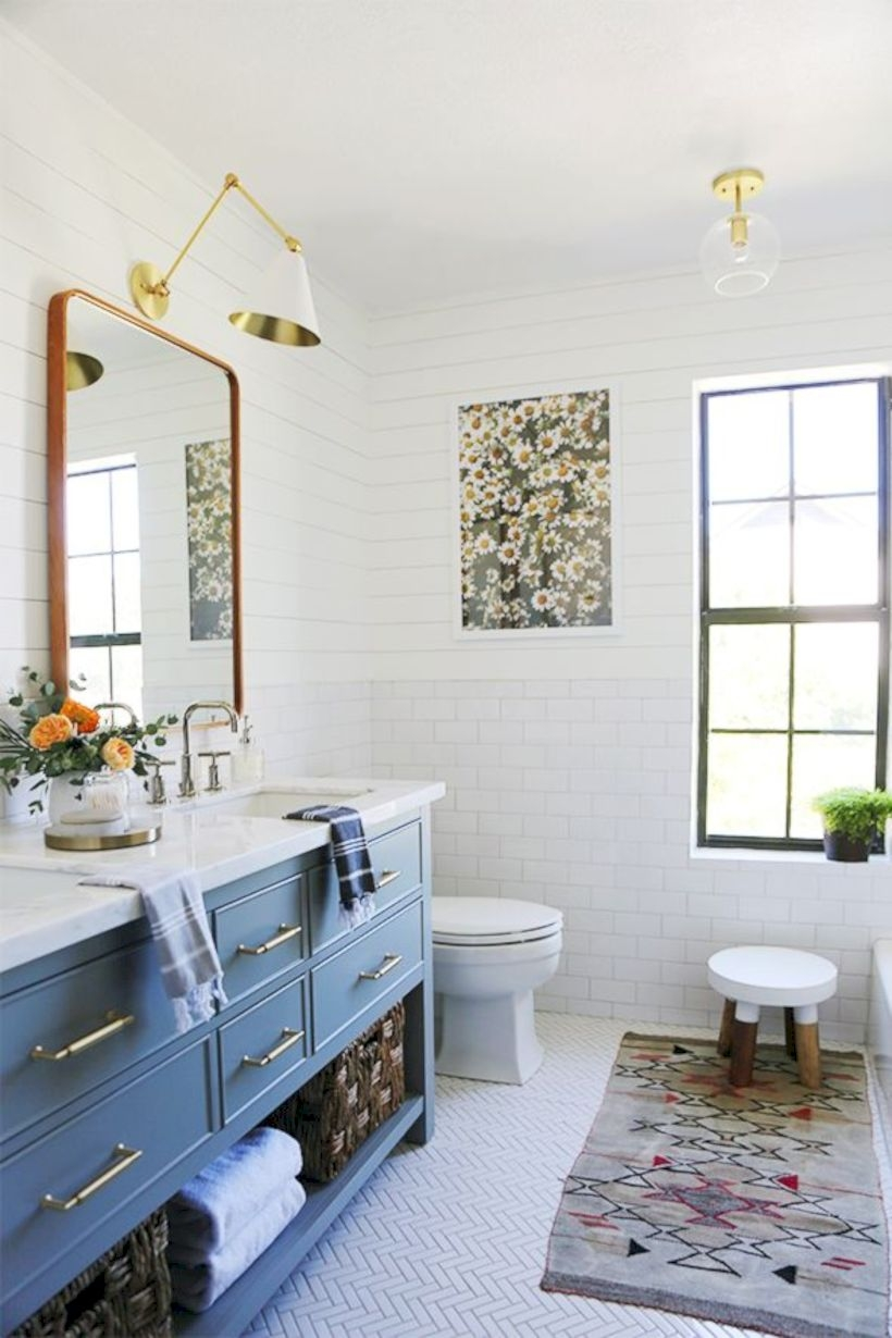 Best modern vintage bathroom reveal 12