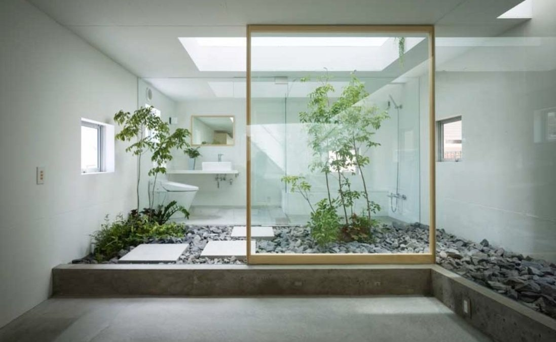 31 Creative Bathroom with Soft Stone Floor to Massage Your Feet