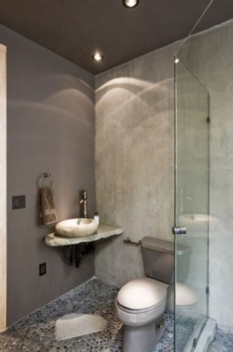 Creative bathroom with soft stone floor to massage your feet 14