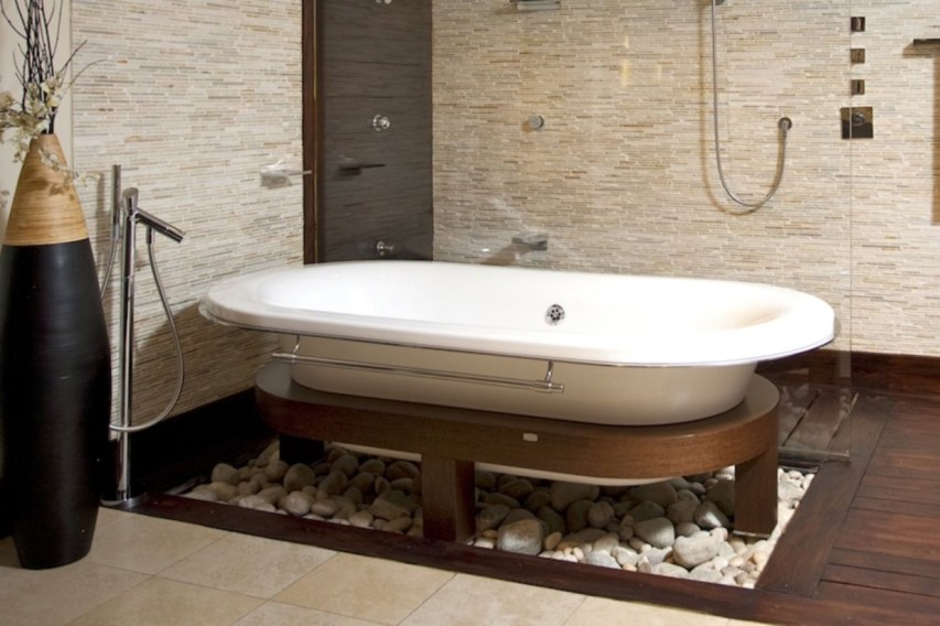 Creative bathroom with soft stone floor to massage your feet 30