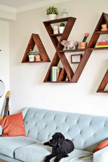 Diy wall shelves ideas for living room decoration 08