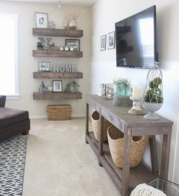 Diy wall shelves ideas for living room decoration 22
