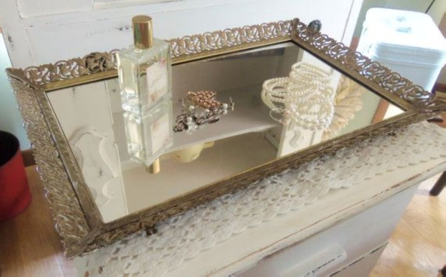 Easy diy footed vanity tray 15
