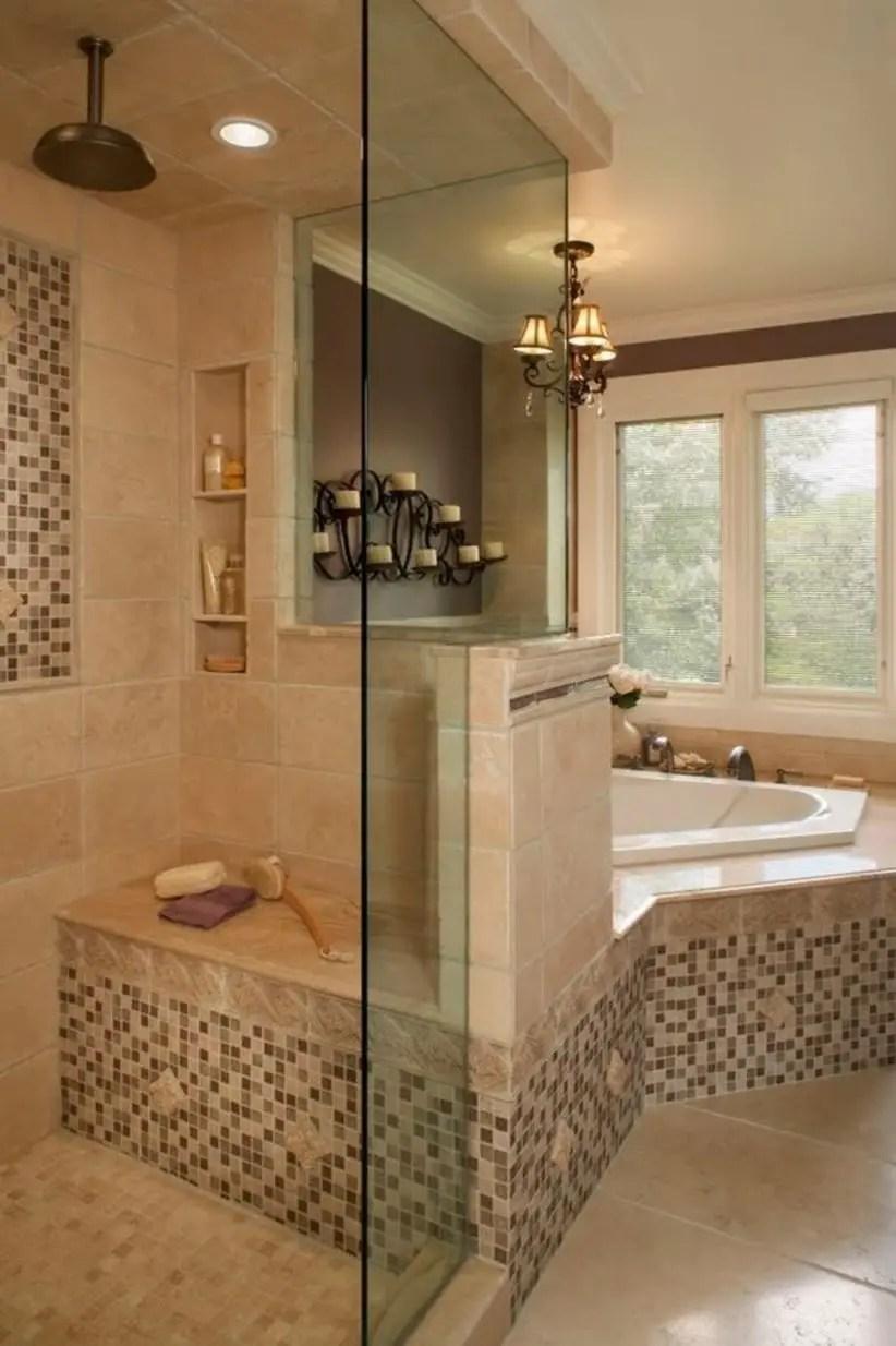 38 Half Wall Shower for Your Small Bathroom Design Ideas ... on Bathroom Tile Design Ideas  id=36777