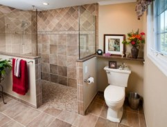 Half wall shower for your small bathroom design ideas 10