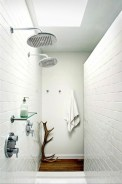 Half wall shower for your small bathroom design ideas 11