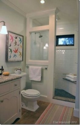 Half wall shower for your small bathroom design ideas 16