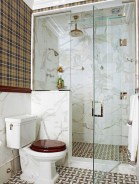 Half wall shower for your small bathroom design ideas 17