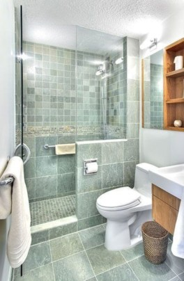 Half wall shower for your small bathroom design ideas 18